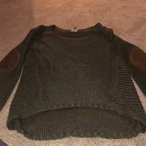 Ayla High-Low Olive Green Sweater
